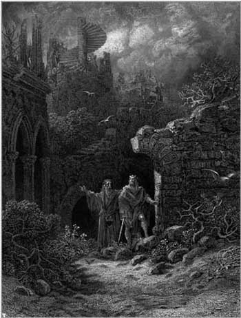 Merlin conseille Arthur, gravure de Gustave Doré
