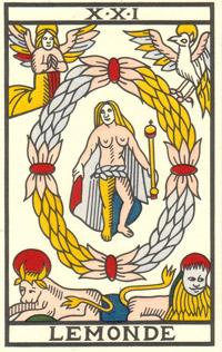Tarot de Jean Noblet, XXI Le Monde, JC Flornoy restauration